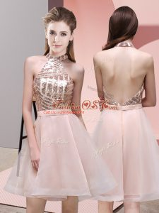 On Sale Baby Pink Bridesmaid Dresses Prom and Party and Wedding Party with Sequins Halter Top Sleeveless Backless