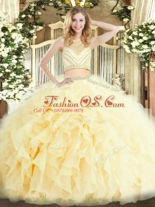 Discount Light Yellow Zipper Scoop Beading and Ruffles Quinceanera Dress Tulle Sleeveless