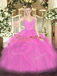 Luxurious Hot Pink Sweet 16 Quinceanera Dress Military Ball and Sweet 16 and Quinceanera with Ruffles Spaghetti Straps Sleeveless Zipper
