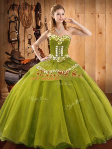 Olive Green Tulle Lace Up Quinceanera Dresses Sleeveless Floor Length Ruffles