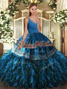 Floor Length Ball Gowns Sleeveless Blue Quinceanera Dress Backless