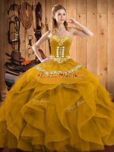 Gold Organza Lace Up Sweetheart Sleeveless Floor Length Quinceanera Dresses Embroidery and Ruffles