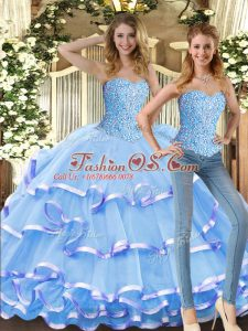 Glittering Floor Length Baby Blue Quinceanera Dress Tulle Sleeveless Beading and Ruffled Layers