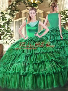 Sleeveless Floor Length Beading and Ruffled Layers Side Zipper Quinceanera Gown with Turquoise