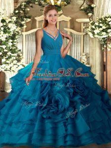 Dynamic V-neck Sleeveless Side Zipper Quinceanera Gowns Teal Organza