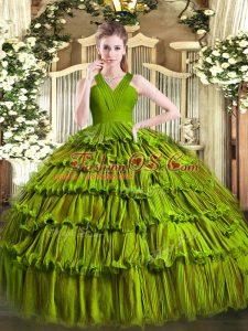 Floor Length Olive Green Sweet 16 Dress Organza Sleeveless Ruffled Layers