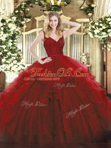 Wine Red Sleeveless Floor Length Beading and Lace and Ruffles Backless Quinceanera Dresses