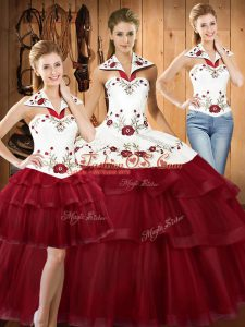 With Train Wine Red 15th Birthday Dress Satin and Organza Sweep Train Sleeveless Embroidery and Ruffled Layers