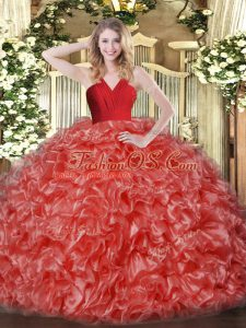 Super Red Ball Gowns Ruffles Sweet 16 Dress Zipper Organza Sleeveless Floor Length