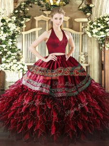 Ideal Wine Red Organza Zipper Halter Top Sleeveless Floor Length Sweet 16 Quinceanera Dress Appliques and Ruffles