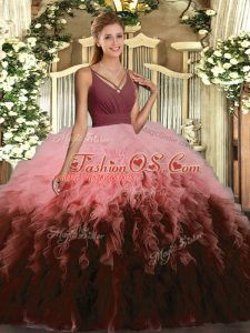 Captivating Multi-color Backless V-neck Ruffles Quinceanera Gowns Organza Sleeveless