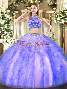 Glittering Lavender Two Pieces High-neck Sleeveless Tulle Floor Length Backless Beading and Ruffles 15 Quinceanera Dress
