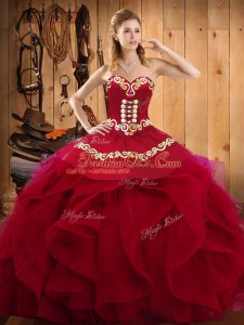 Decent Burgundy Organza Lace Up Sweetheart Sleeveless Floor Length Sweet 16 Dresses Embroidery and Ruffles