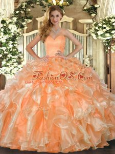 On Sale Floor Length Orange Quinceanera Dresses Organza Sleeveless Beading and Ruffles
