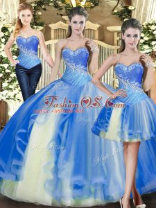 Sweetheart Sleeveless Lace Up 15th Birthday Dress Baby Blue Tulle