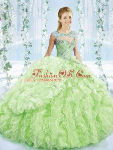 Yellow Green Organza Lace Up Sweetheart Sleeveless Sweet 16 Dress Brush Train Beading and Ruffles and Pick Ups