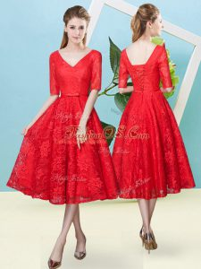 Gorgeous Red Lace Lace Up V-neck Half Sleeves Tea Length Damas Dress Bowknot