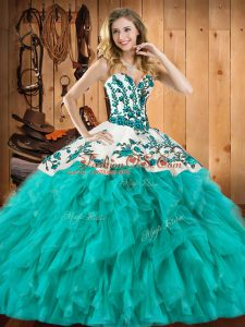 Fine Floor Length Ball Gowns Sleeveless Turquoise Sweet 16 Dresses Lace Up