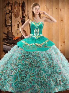 Perfect Floor Length Multi-color Quinceanera Gown Sweetheart Sleeveless Lace Up