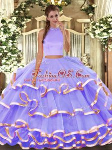 Lavender Organza Backless Halter Top Sleeveless Floor Length Sweet 16 Dress Beading and Ruffled Layers