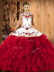 Red Ball Gowns Satin and Organza Halter Top Sleeveless Embroidery and Ruffles Floor Length Lace Up Quinceanera Dresses