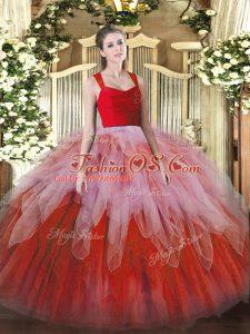 Ball Gowns 15th Birthday Dress Multi-color Straps Organza Sleeveless Floor Length Zipper