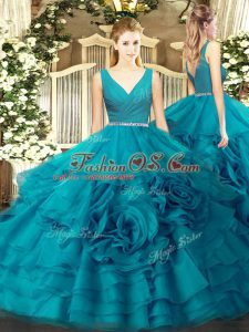V-neck Sleeveless 15 Quinceanera Dress Floor Length Beading Teal Fabric With Rolling Flowers