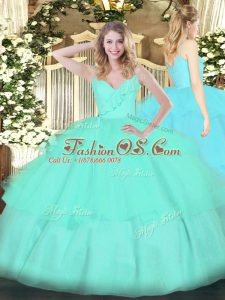 Spaghetti Straps Sleeveless Quince Ball Gowns Floor Length Ruffled Layers Apple Green Organza