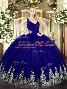 Sleeveless Floor Length Beading and Lace and Appliques Backless Sweet 16 Dress with Purple