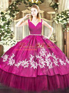 Top Selling Floor Length Fuchsia Sweet 16 Dresses V-neck Sleeveless Zipper
