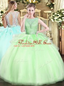 Backless 15 Quinceanera Dress Lace Sleeveless Floor Length
