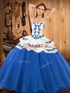 Captivating Ball Gowns Sweet 16 Dress Baby Blue Strapless Satin and Organza Sleeveless Floor Length Lace Up