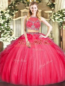 Custom Designed Two Pieces Quince Ball Gowns Red Scoop Tulle Sleeveless Floor Length Zipper