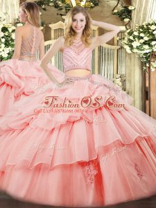 Latest Sleeveless Floor Length Beading and Ruffles Zipper 15th Birthday Dress with Pink
