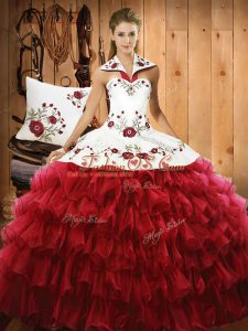 Vintage Embroidery and Ruffled Layers Quinceanera Gowns Wine Red Lace Up Sleeveless Floor Length