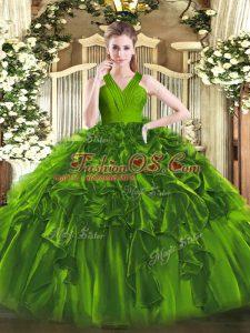 Dazzling V-neck Sleeveless Quinceanera Dress Floor Length Ruffles Olive Green Organza