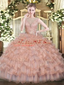 Stunning Scoop Sleeveless Sweet 16 Dresses Floor Length Beading and Ruffled Layers Champagne Tulle