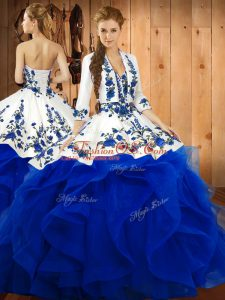 Sweetheart Sleeveless Quince Ball Gowns Floor Length Embroidery and Ruffles Blue Satin and Organza