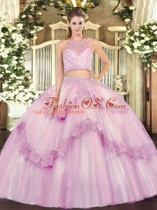 Best Scoop Sleeveless Tulle Sweet 16 Dresses Beading and Appliques Zipper