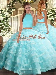 Eye-catching Aqua Blue Sleeveless Floor Length Beading and Ruffled Layers Backless Sweet 16 Quinceanera Dress