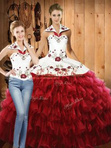 Red Organza Lace Up Ball Gown Prom Dress Sleeveless Floor Length Embroidery and Ruffled Layers