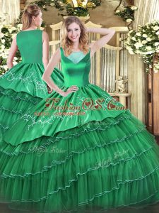 Eye-catching Sleeveless Organza Floor Length Side Zipper Quinceanera Dress in Turquoise with Beading and Embroidery and Ruffled Layers