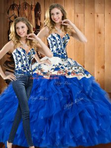 Free and Easy Blue Sleeveless Embroidery and Ruffles Floor Length Quinceanera Gown