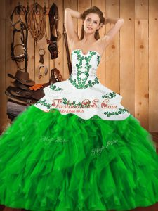 Glamorous Green Sleeveless Floor Length Embroidery and Ruffles Lace Up Quinceanera Gowns