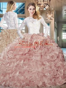 Beauteous Scoop Long Sleeves Lace and Fabric With Rolling Flowers Vestidos de Quinceanera Beading and Ruffles Brush Train Lace Up