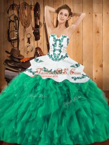 Ideal Turquoise Sleeveless Satin and Organza Lace Up Sweet 16 Quinceanera Dress for Military Ball and Sweet 16 and Quinceanera