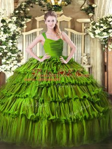 Olive Green Zipper Quinceanera Gowns Ruffled Layers Sleeveless Floor Length