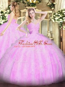 Most Popular Lilac Ball Gowns Beading and Ruffles 15 Quinceanera Dress Lace Up Organza Sleeveless Floor Length