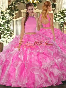 Rose Pink Halter Top Backless Beading and Ruffles Quinceanera Dress Sleeveless