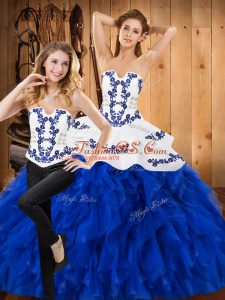 High Quality Blue And White Lace Up Quince Ball Gowns Embroidery and Ruffles Sleeveless Floor Length